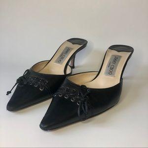 Jimmy Choo Black Kitten Heel Slip-On. (US 6.5)